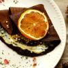 Crepes de alfarroba com curd de tangerina