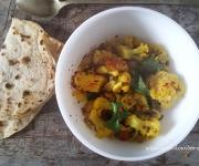 Caril de couve-flor, lentilhas e batata doce