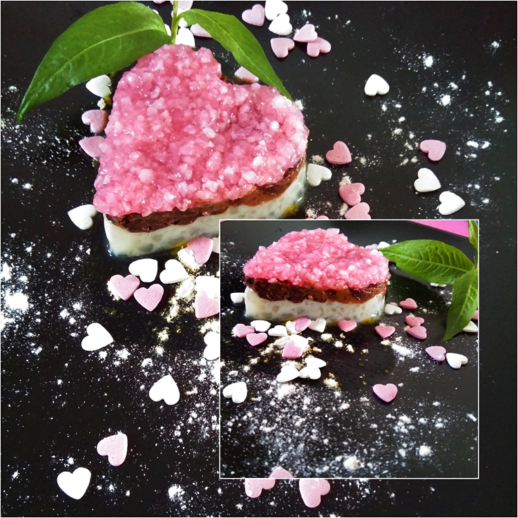 Coração de chocolate, gengibre e morango