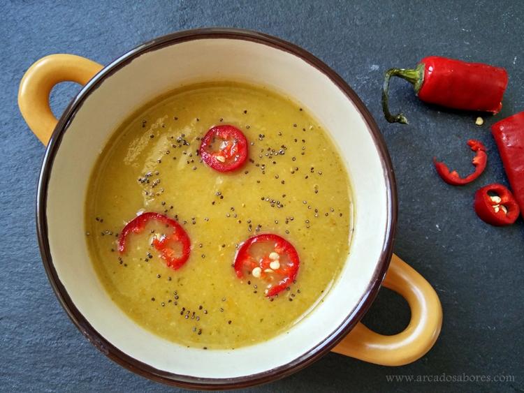 sopa de brócolos e lentilhas